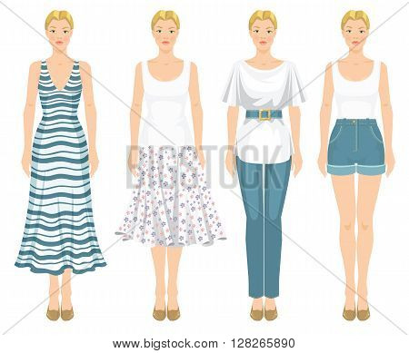 Vector illustration of young blonde girls in clothes for summer holiday isolated on white background