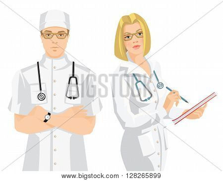 Vector illustration of young doctor in medical uniform and hat isolated on white background. Serious man in glasses. Medic woman in glasses wrote in document.