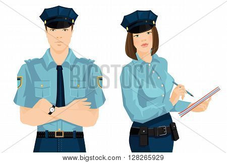 Vector illustration of beautiful police woman and young police man in formal clothes isolated on white background. Officer woman writing in document