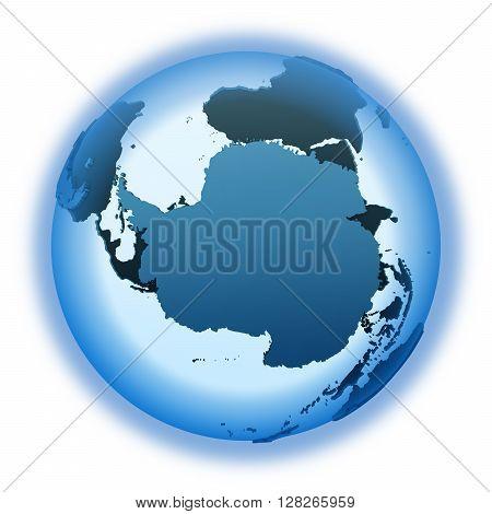 Antarctica On Translucent Earth