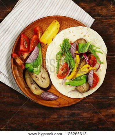 vegetarian fajitas wheat tortilla with grilled vegetables and herbs