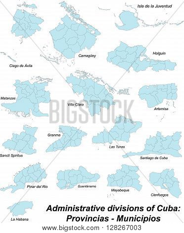 Administrative map of cuba with all provinces and municipios