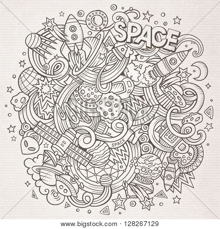 Cartoon hand-drawn doodles Space illustration. Line art detailed, with lots of objects vector background