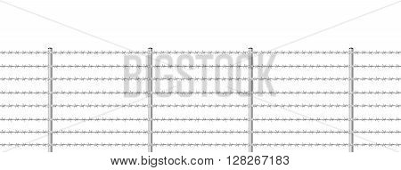 Barb wire fence, seamless expandable - isolated vector illustration on white background.