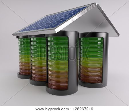 3D Render of Battery Solar Charge Levels