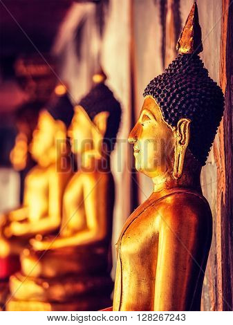 Vintage retro effect filtered hipster style image of Buddha statues in Wat Phra That Doi Suthep, Chiang Mai, Thailand