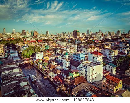 Vintage retro effect filtered hipster style image of Bangkok aerial view. Thailand