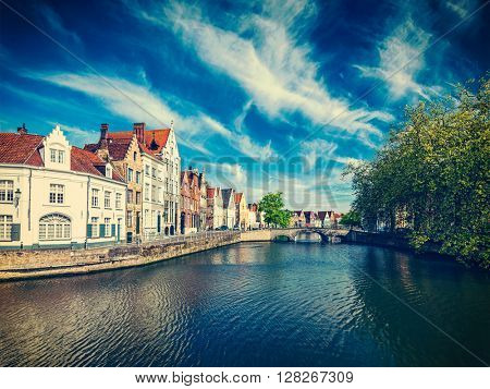 Vintage retro effect filtered hipster style image of  canal, bridge and row of old houses, Bruges (Brugge), Belgium
