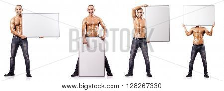 Man with blank poster on white
