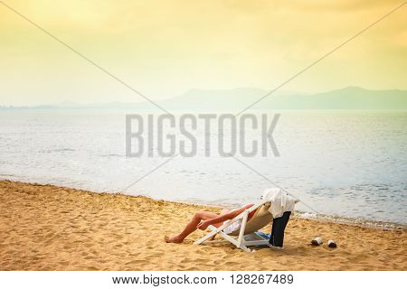 Man sunbathing on the Pattay beach in Thailand Relaxation time on vacation