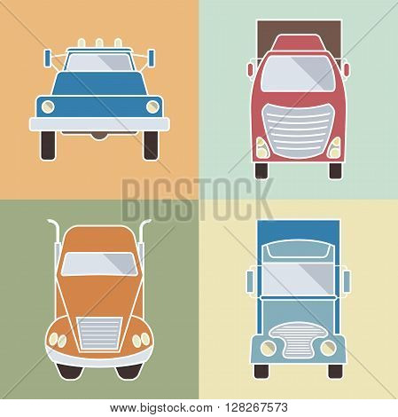 Set of elements cargo transportation. Lorry icons. Vector illustration