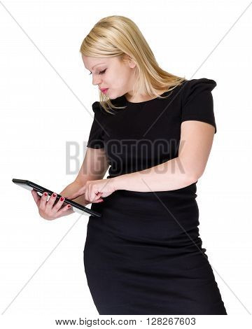 Tablet computer. Business woman using digital tablet computer PC with finger on touch screen display. Isolated on white background.