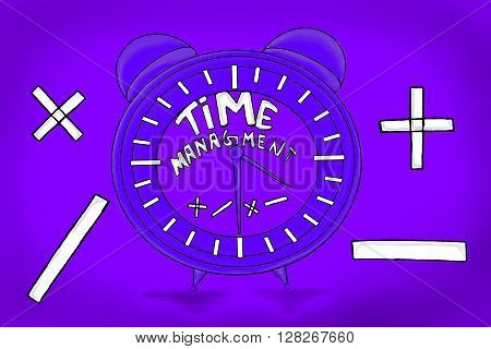 Isolated Clock With Time Managment Text In It Concept