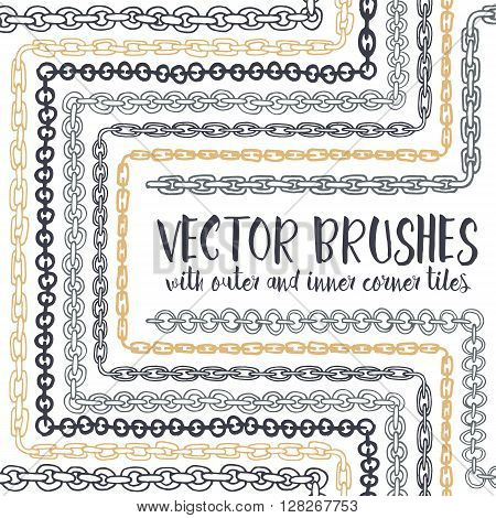 Vector set of 8 hand drawn decorative Chain seamless pattern brushes with outer and inner corner tiles. Endless whimsical ink borders. Different chain types for frames, decorations, elements, dividers