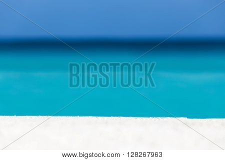 Tropical Sandy Beach With White Sand And Turquoise Caribbean Sea Water