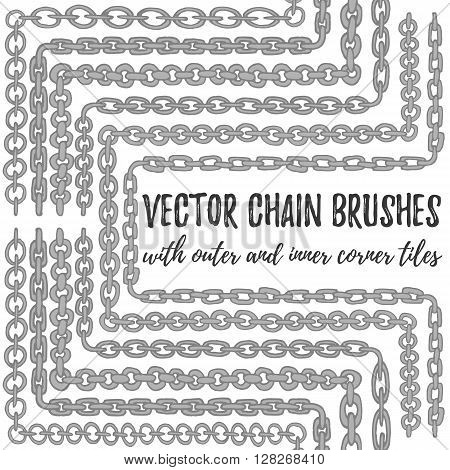 Vector set of 6 hand drawn decorative Chain seamless pattern brushes with outer and inner corner tiles. Silver endless whimsical ink borders. Different gray chain types for frames and decorations