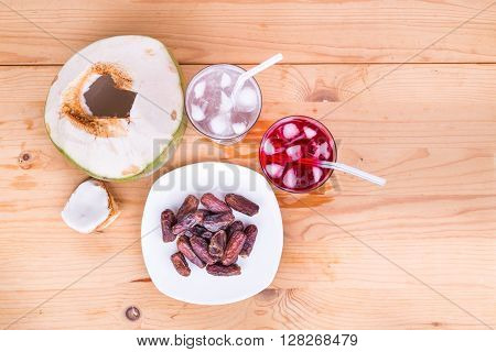 Coconut Juice, Syrup, Dates Simple Iftar Break Fast During Ramadan