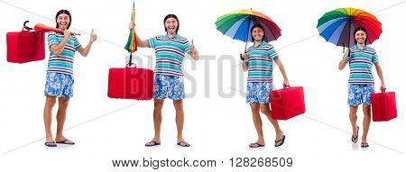 Traveler with red case  and umbrella isolated on white