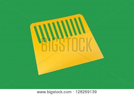 Yellow plastic spatula for wallpaper. Isolated on a green background.