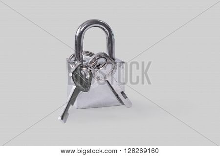 Hinged lock. Isolated on a gray background.
