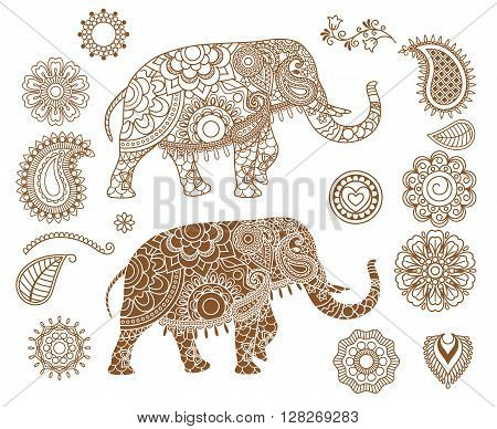Indian elephant with mehendi patterns. Hand drawn isolated ethnic henna elephant. Vector illustration