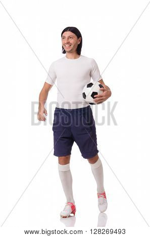Young footballer isolated on the white
