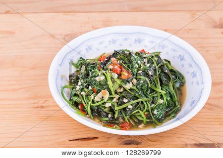 Plate Of Fried Sweet Potato Leafs, Delicacy Among Asians