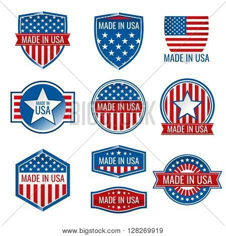 Made in USA vector icons. Made in usa icon, american product made in usa, quality made in usa illustration
