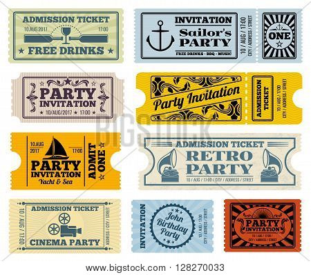 Retro party, cinema, invitation vector tickets set. Invitation ticket, retro ticket cinema, event ticket paper template illustration
