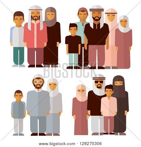 Arabic family in traditional muslim clothes. Muslim family, muslim traditional people, muslim culture. Vector illustration