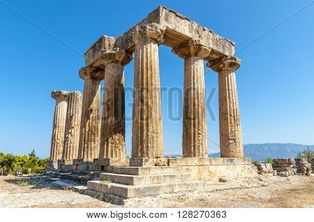 The ruins of the old Greek temple in ancient Corinth. Peloponnese. Greece.