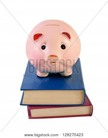 Piggy bank and books isolated on white background