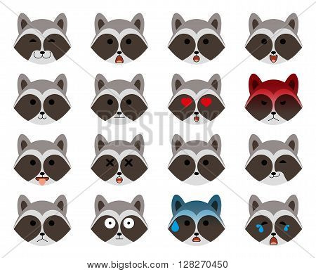 Set of emoticons. Modern minimalistic flat raccoon emoticons (emoji) set. Animal avatar or emoji heads. Raccoon with different emotions. Isolated on white background. Vector illustration