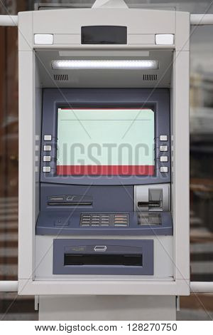 ATM Automated Teller Machine at Bank Window