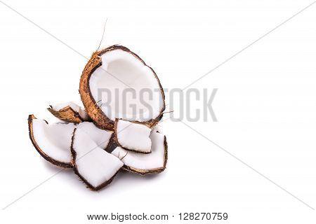 Old Brown Organic Coconut Fruit Broken Into Pieces