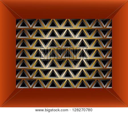Stylish geometric texture of triangles in red frame