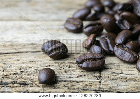 Coffee beans on wood background, bean, coffee, roast,