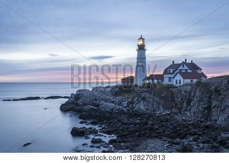 The light at Cape Elizabeth marks the entrance to the shipping channel for the Portland harbor.