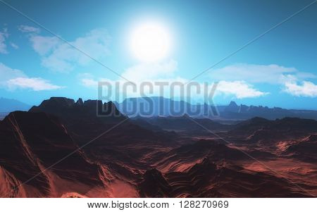 3D render of a surreal planetary landscape