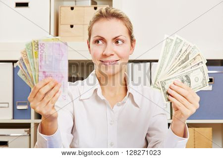 Woman thinking about currency exchange rate between Dollar and Euro