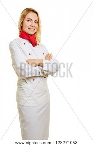 Young smiling woman as chef cook in white workwear