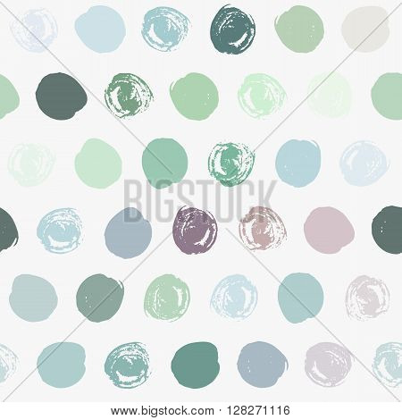 Seamless polka dot pattern. Dry brush painted circles with rough edges. Trendy hipster texture. Hand drawn endless stylish backdrop. Colorful shapes on white background. Fabric, wallpaper, wrapping