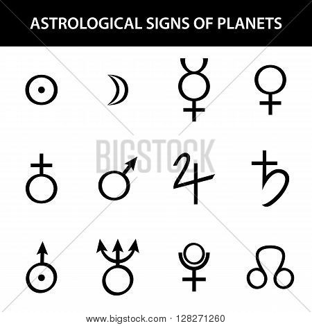 Astrology signs of planets on white background. Vector illustration
