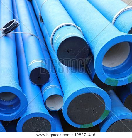 Blue Plastic Pipes For New Municipal Water System