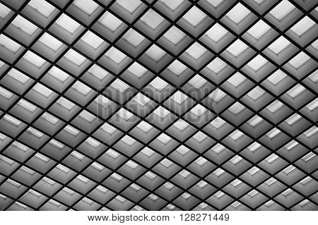 Transparent glass ceiling modern architectural interior may use as background