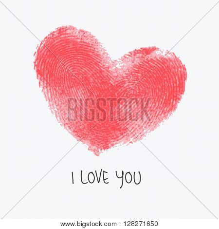 Creative poster with double fingerprint heart. Red realistic thumbprint isolated on white and text sample. For wedding, honeymoon, valentines day or romantic design. Trace of real finger print