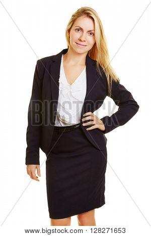 Attractive young business woman smiling with her arms akimbo