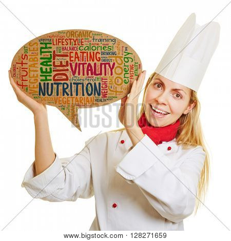 Smiling chef cook with concept for healty diet and nutrition in a speech bubble