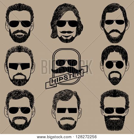 Retro collection of hairstyles for men. Vector illustration.