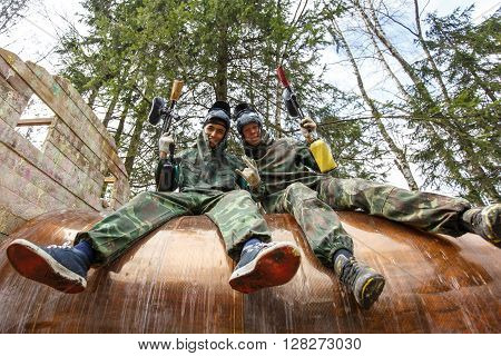 Saint-Petersburg, Russia - April 10, 2016: Paintball student tournament of Bonch Bruevich university in Snaker club. Two players.